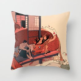 Tell a Dragon Colorful Stories Throw Pillow