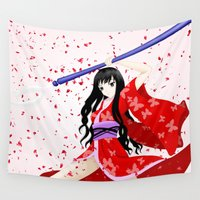 manga Wall Tapestries featuring My Manga Girl by Nikki Xiao