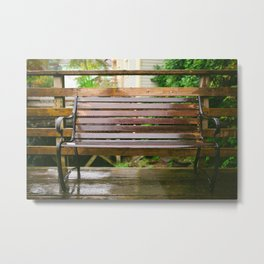 Raindrops on the Bench Metal Print