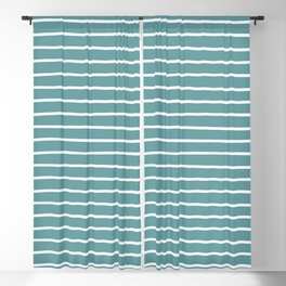 Dusty Turquoise & White Handdrawn Stripes Blackout Curtain