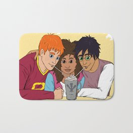 The Golden Trio share a hot cocoa at the Three Broomsticks Bath Mat