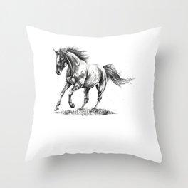 Running Horse Horseback Riding Horse Lover Throw Pillow