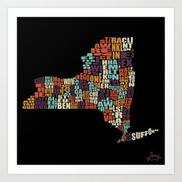 Counties Of New York Art Print