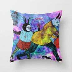 Rabbits Tricks Throw Pillow
