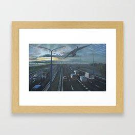 Cormorant above highway Framed Art Print
