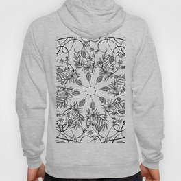 BLACK AND WHITE FLORAL MANDALA Hoody
