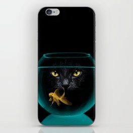 Black Cat Goldfish II iPhone Skin