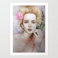 jennifer lawrence Art Prints featuring Jennifer Lawrence  by Giulia Colombo
