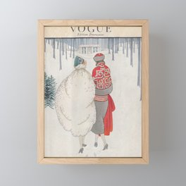 MAGAZINE Cover French Fashion Two Women walking through Forest Snow Winter Glove Trees Home Decor Wall Engraving Framed Mini Art Print