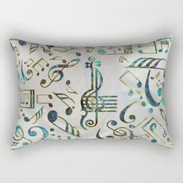Golden Framed  Musical notes pattern abalone shell Rectangular Pillow