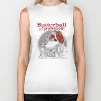 thanksgiving Biker Tanks featuring Happy Thanksgiving! by Hey!Roger