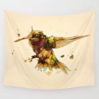 android Wall Tapestries featuring android hummingbird by Kingu Omega