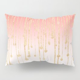 Color block coral faux gold glitter waterdrops ombre Pillow Sham