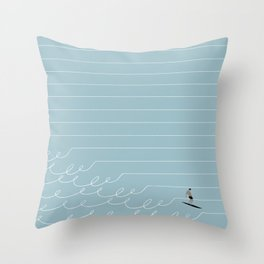 Surf Lines - Blue Throw Pillow