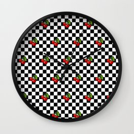 Checkered Cherries Wall Clock