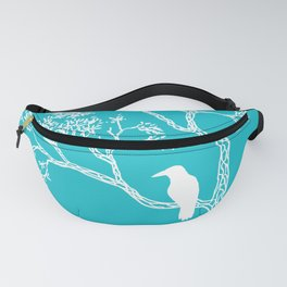 Crow in a tree turquoise Fanny Pack