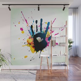 Grunge hand on paint splashes Wall Mural