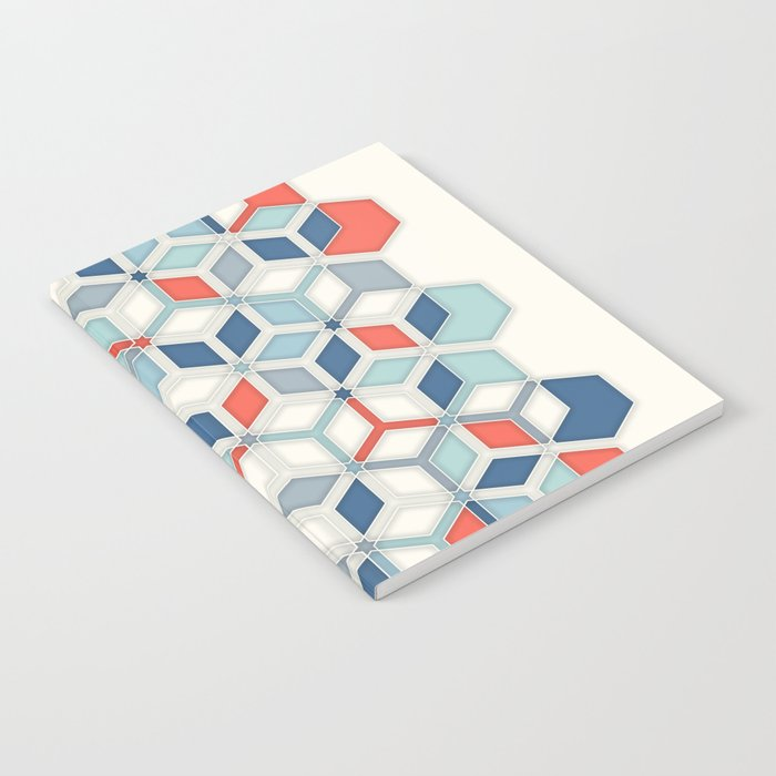 Soft Red, White & Blue Hexagon Pattern Play Notebook