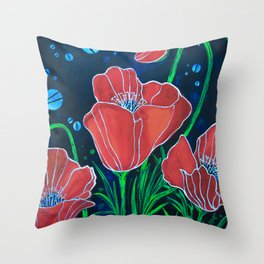 Stylized Red Poppies Throw Pillow