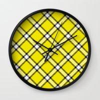 clueless Wall Clocks featuring Cher Tartan by Pia Spieler