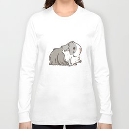 Carrot and Silkie Guinea Pig pattern in White Background Silkie Guinea Pigs illustration Long Sleeve T-shirt