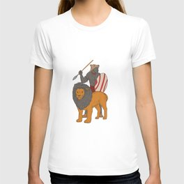 African Warrior Spear Hunting With Lion Drawing T-shirt