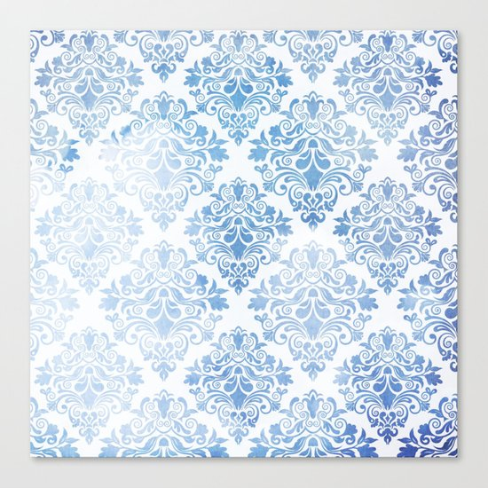 Blue Watercolor Pattern 04 Canvas Print