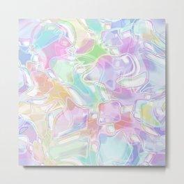 Pastel Futuristic Swirls Pattern Metal Print
