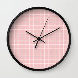 Baby pink - pink color - White Lines Grid Pattern Wall Clock