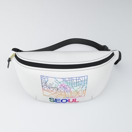 Seoul Watercolor Street Map Fanny Pack