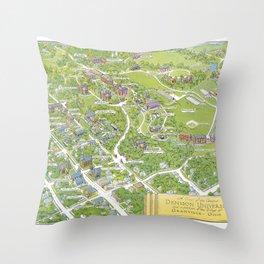 DENISON University map GRANVILLE OHIO Throw Pillow
