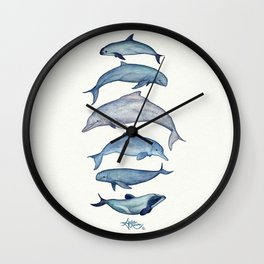 """Rare Cetaceans"" by Amber Marine - Watercolor dolphins and porpoises - (Copyright 2017) Wall Clock"