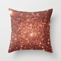 rose gold Throw Pillows featuring rose gold stars by GalaxyDreams