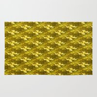 bows Area & Throw Rugs featuring Golden Bows  by Elena Indolfi