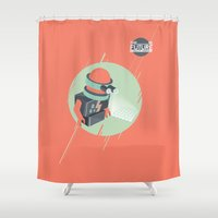 holographic Shower Curtains featuring Future is Hollow Graphics by RJ Artworks