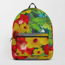 RED-YELLOW HIBISCUS & GREEN PARROT JUNGLE GRAY  ART n Backpack