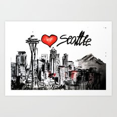 I love Seattle Art Print