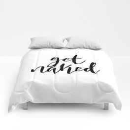 """Funny quote """"Get Naked"""" Funny Wall Art Bedroom Decor Funny Print Monday You Bastard Print Comforters"""