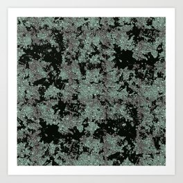 Silver Frost, Green and Black Ice Abstract Pattern Art Print