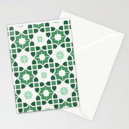 Morrocan tiles in green Stationery Cards