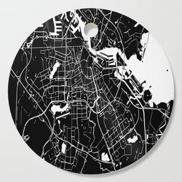 Amsterdam Black on White Street Map Cutting Board