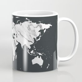 Marble World Map in Black and White Coffee Mug