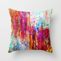 valentines Throw Pillows featuring Valentines Brunch by Glint & Lime Art