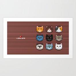 I love cats Art Print