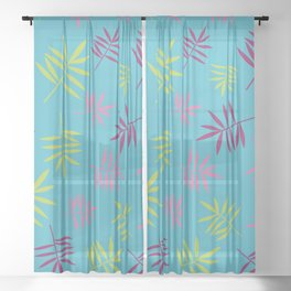 Tropical Palm Leaves Pattern Sheer Curtain