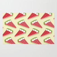pie Area & Throw Rugs featuring Watermelon pie by Petits Pixels
