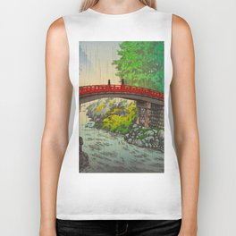 Vintage Japanese Woodblock Print Garden Red Bridge River Rapids Beautiful Green Forest Landscape Biker Tank
