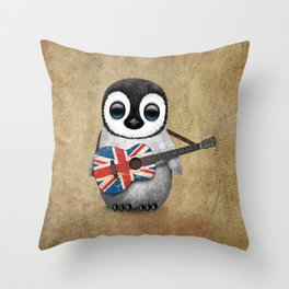 Baby Penguin Playing Union Jack British Flag Guitar Throw Pillow