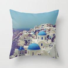 Blue Domes II, Oia, Santorini, Greece Throw Pillow