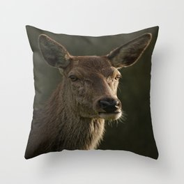 Portrait Of A Wild Red Deer Throw Pillow